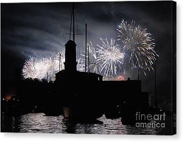 Fireworks Over Marseille's Vieux-port On July 14th Bastille Day Canvas Print by Sami Sarkis