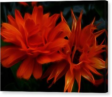 Firey Red Orange Flowers Abstract Canvas Print by Cindy Wright