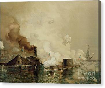 First Fight Between Ironclads Canvas Print by Julian Oliver Davidson