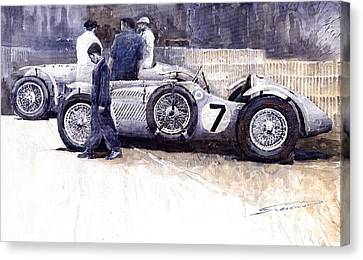 First Met Up Talbot Lago Le Mans 1950 Canvas Print by Yuriy  Shevchuk
