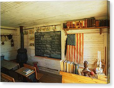 First School In Montana Canvas Print by Panoramic Images