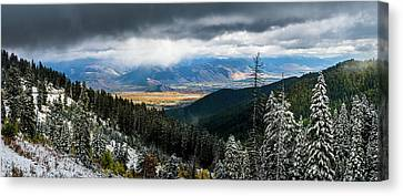 First Snow, Jackson From Teton Pass Canvas Print by TL Mair