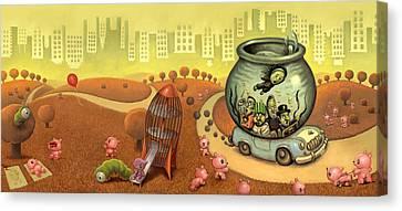 Fish Circus - Landscape Canvas Print by Luis Diaz