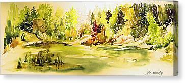 Fish Pond At Nutimik Lake Manitoba Canvas Print by Joanne Smoley