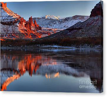 Fisher Towers Sunset On The Colorado Canvas Print by Adam Jewell