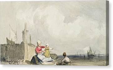 Fisherfolk On The Beach Canvas Print by Richard Parkes Bonington