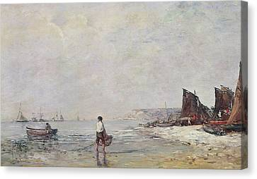 Fisherman In Villerville Canvas Print by Eugene Louis Boudin
