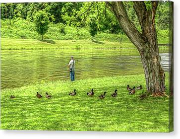 Fisherman Lazy Day At The Lake Canvas Print by Randy Steele