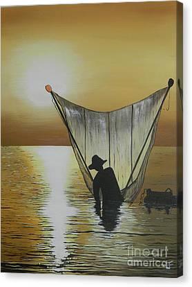 Fisherman Canvas Print by Merrin Jeff