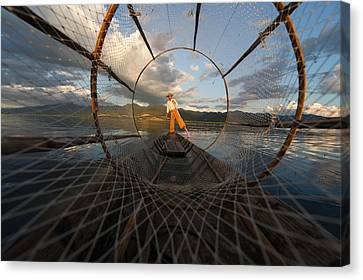 Fisherman On Inle Lake Canvas Print by Mark Prior