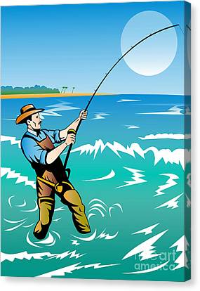 Fisherman Surf Casting Canvas Print by Aloysius Patrimonio