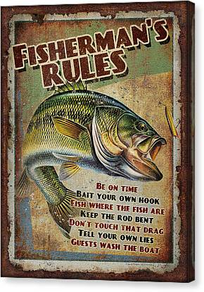Fisherman's Rules Canvas Print by JQ Licensing
