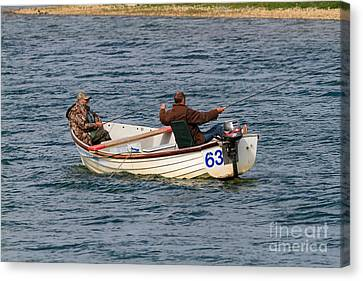 Fishermen In A Boat Canvas Print by Louise Heusinkveld