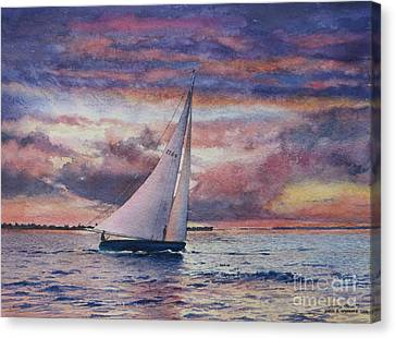 Harbor Sunset Canvas Print by Karol Wyckoff