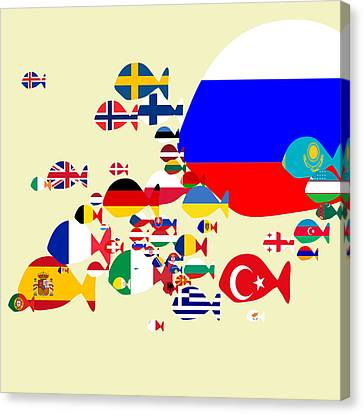 Fishes Map Of Europe Canvas Print by Keshava Shukla