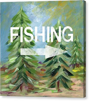 Fishing- Art By Linda Woods Canvas Print by Linda Woods