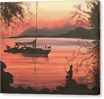 Fishing At Sunset Canvas Print by Suzanne  Marie Leclair