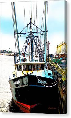 Fishing Boat Boston Harbor Canvas Print by Michelle Wiarda