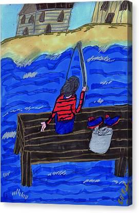 Fishing By The Shore Canvas Print by Elinor Rakowski
