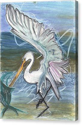 Fishing Egret Canvas Print by Stu Hanson
