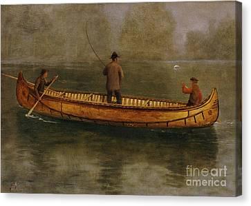 Fishing From A Canoe Canvas Print by Albert Bierstadt