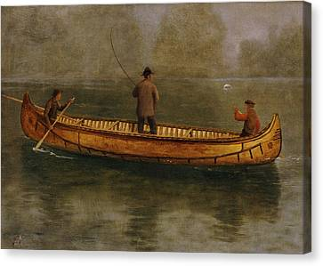 Fishing From A Canoe Canvas Print by Albert Bierstadt