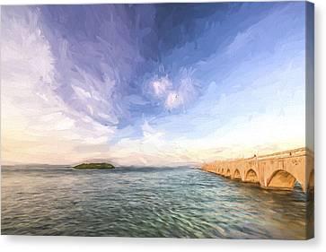 Fishing From The Bridge II Canvas Print by Jon Glaser