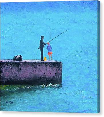 Fishing From The Pier Canvas Print by Jan Matson