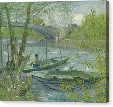 Fishing In Spring, The Pont De Clichy Canvas Print by Vincent Van Gogh
