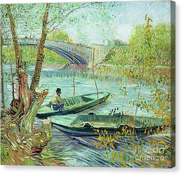 Fishing In The Spring Canvas Print by Vincent Van Gogh
