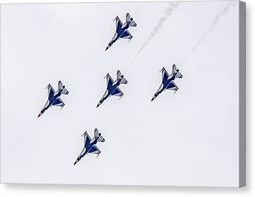 Five Away Thunderbirds Canvas Print by Jack R Perry