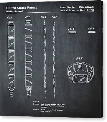 Five Face Watch Patent By Andy Warhol In Chalk Canvas Print by Bill Cannon
