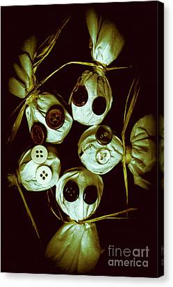 Five Halloween Dolls With Button Eyes Canvas Print by Jorgo Photography - Wall Art Gallery
