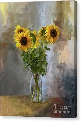 Five Sunflowers Centered Canvas Print by Lois Bryan