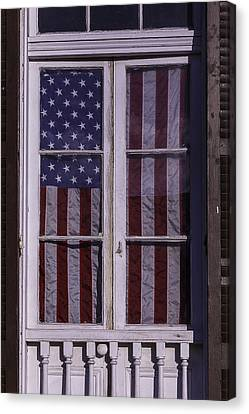 Flag In New Orleans Window Canvas Print by Garry Gay