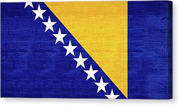 Flag Of Bosnia And Herzegovina Grunge Canvas Print by Roy Pedersen