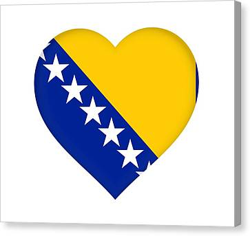Flag Of Bosnia And Herzegovina Heart Canvas Print by Roy Pedersen
