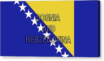 Flag Of Bosnia And Herzegovina Word Canvas Print by Roy Pedersen