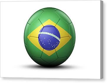 Flag Of Brazil On Soccer Ball Canvas Print by Bjorn Holland