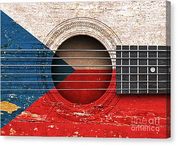 Flag Of Czech Republic On An Old Vintage Acoustic Guitar Canvas Print by Jeff Bartels