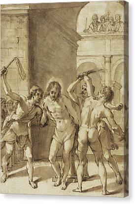 Flagellation Of Christ Canvas Print by Guercino