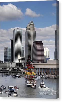 Flags Of Gasparilla Canvas Print by David Lee Thompson