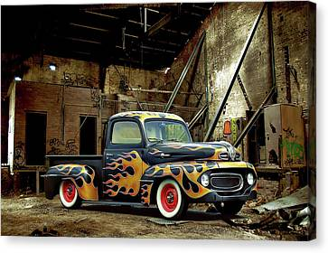 Flamed Pickup Canvas Print by Steven Agius