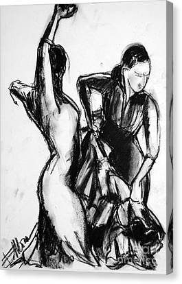 Flamenco Sketch 1 Canvas Print by Mona Edulesco