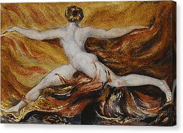 Flames Of Furious Desires Canvas Print by William Blake