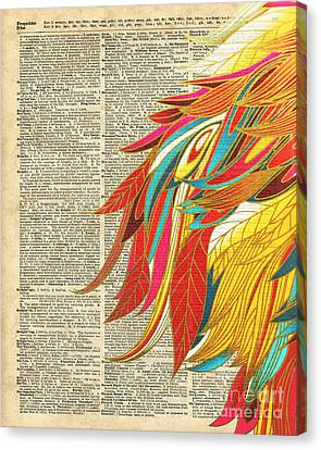 Flaming Colourful Feathers Canvas Print by Jacob Kuch