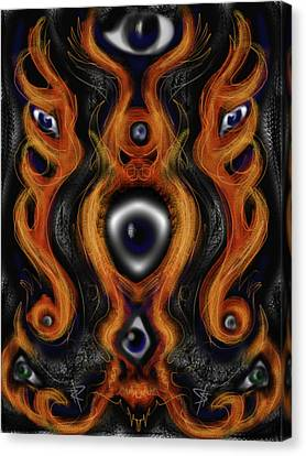 Flaming Eyes Canvas Print by Russell Pierce