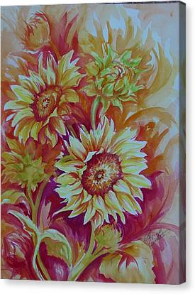Flaming Sunflowers Canvas Print by Summer Celeste