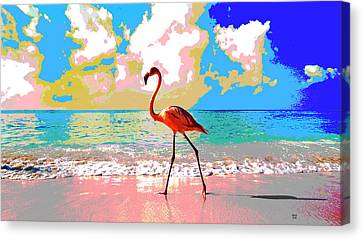 Flamingo At Sunset Canvas Print by Charles Shoup
