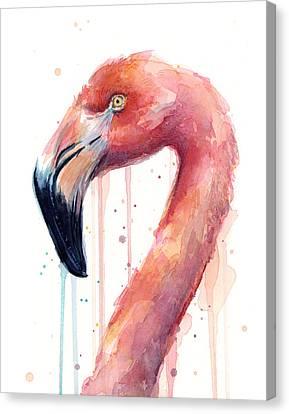 Flamingo Watercolor Illustration Canvas Print by Olga Shvartsur